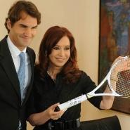 Cristina con el tenista suizo Roger Federer