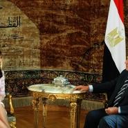 Cristina Fernández de Kirchner, reunida con su par de Egipto, Hosni Mubarak.