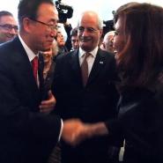 La presidenta de la Nacion, Cristina Fernandez de Kirchner junto al Secretario General de la ONU.