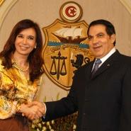 El presidente de Tunez, Zine El Abidine Ben Ali, recibió a la presidenta Cristina Fernández de Kirchner.