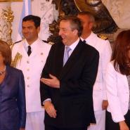 Néstor con Cristina y Michelle Bachelet