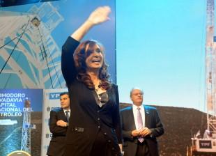Cristina Fernández de Kirchner en la inauguración de la perforación del primer pozo exploratorio de gas no convencional, en Comodoro Rivadavia, Chubut.