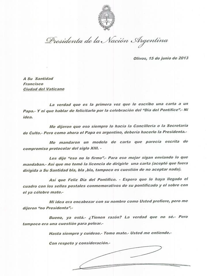"""Carta a Francisco por el """"Día del Pontífice"""""""