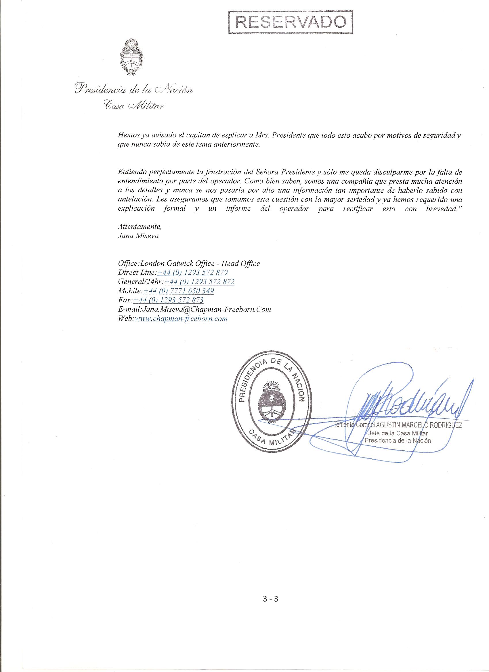 Informe Casa Militar