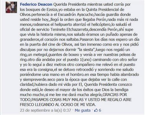 MENSAJE A CFK EN FB