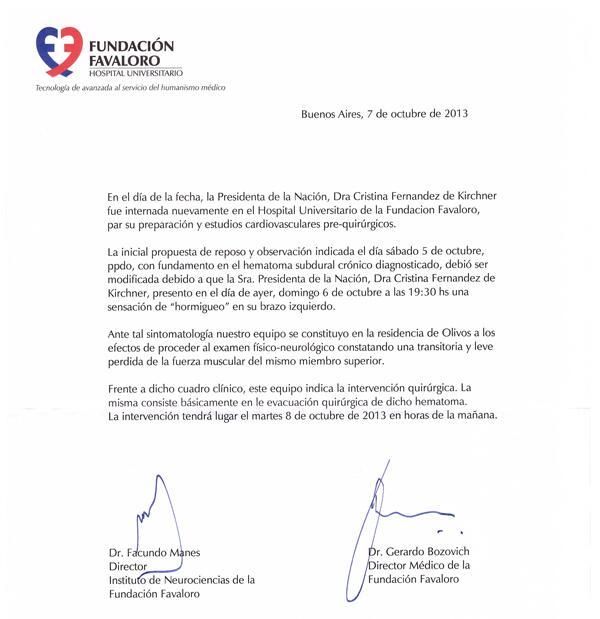 Comunicado CFK Favaloro