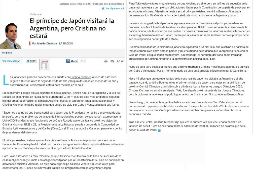 """Acordate, 8 enero titularon:""""Príncipe de Japón visitará la Argentina, pero Cristina no estará"""""""