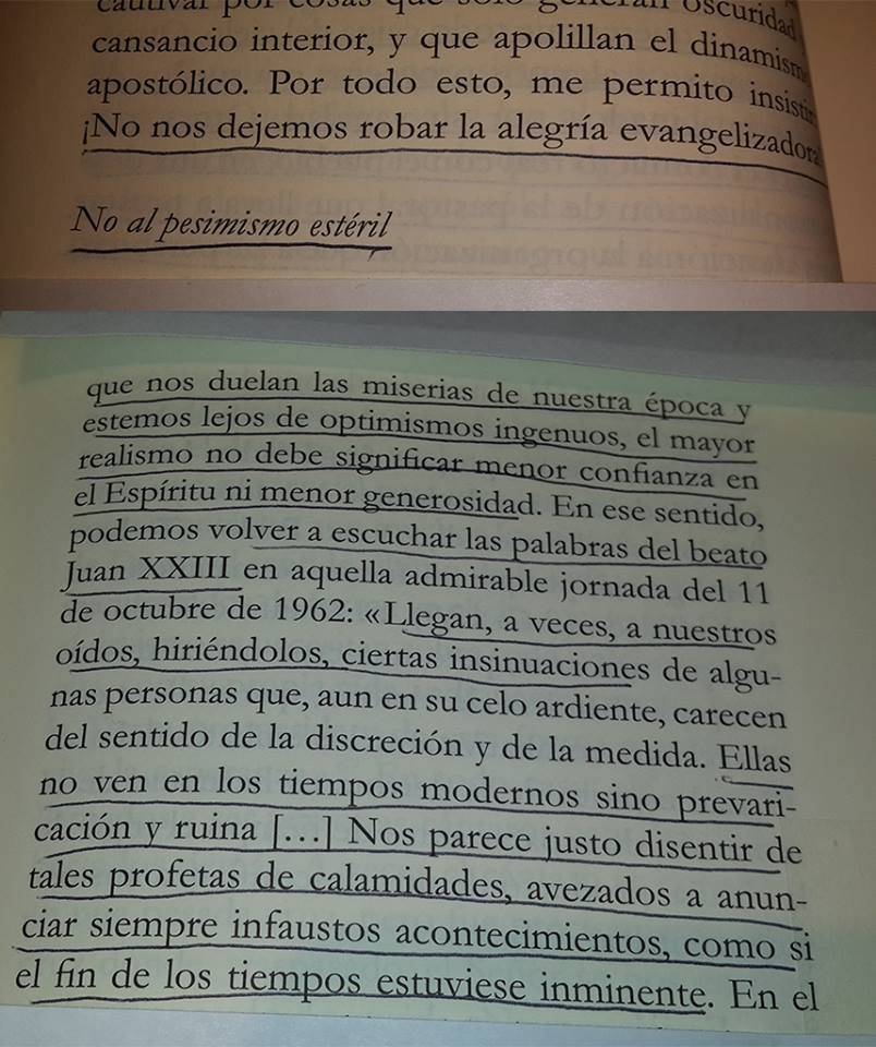 """Hoy me olvidé de leer un texto muy importante: """"No al pesimismo estéril"""", palabras de Juan XXIII el Papa Bueno"""