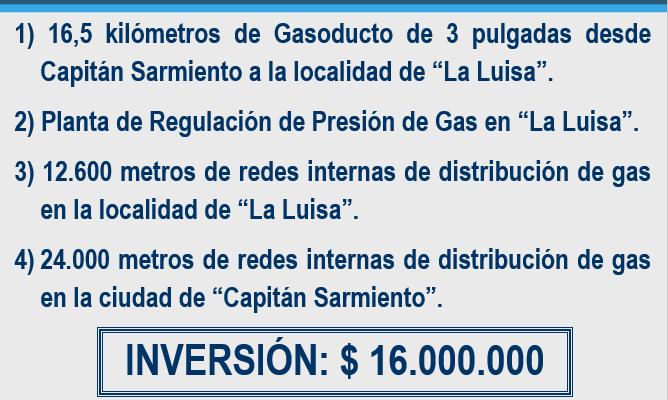 Inauguración de obras de gas en Capitán Sarmiento.