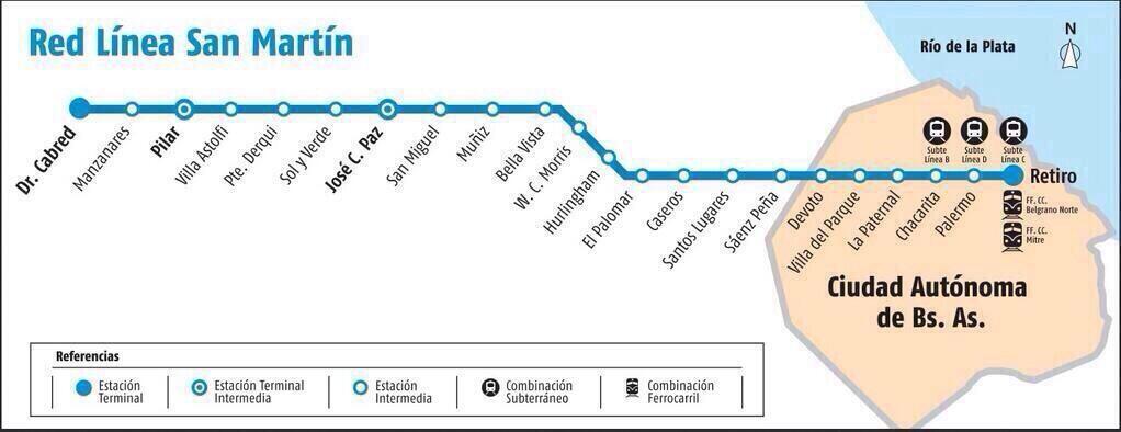 Llega el San Martín a Manzanares y Lujan, reabren 2 estaciones.