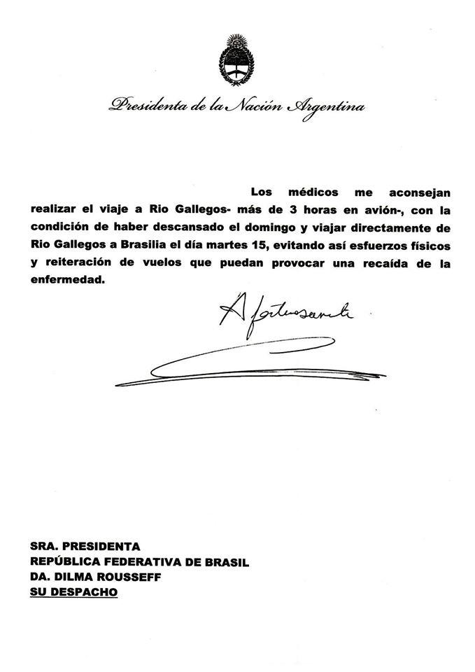 Carta a la compañera Dilma Rousseff sobre su invitación a la final del mundial #Brasil2014