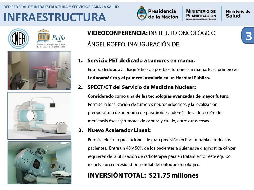 """Inauguramos el equipamiento de medicina nuclear del Instituto de Oncología """"Ángel Roffo"""", que depende de la Universidad de Buenos Aires: MAMMI PET, SPECT y Acelerador Lineal. Una inversión, entre equipos y mano de obra, de $ 21,75 millones."""