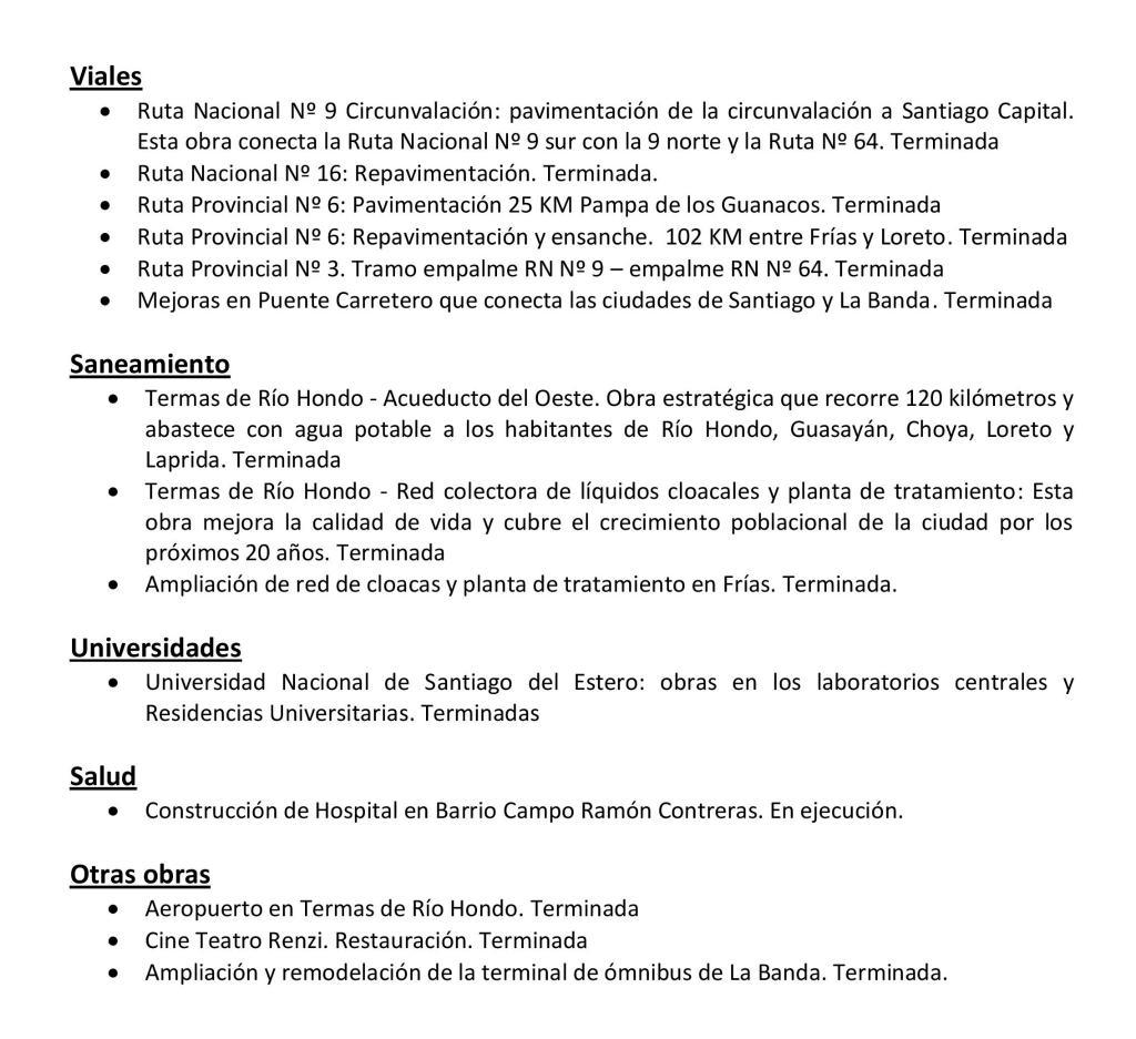 Grandes obras Santiago del Estero