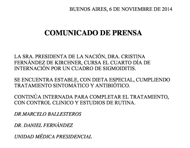 Comunicados de la Unidad Médica Presidencia.