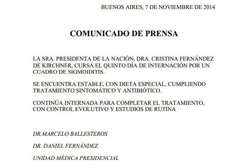 Comunicado de la Unidad Médica Presidencial.