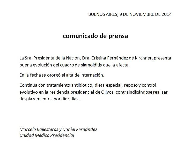 Comunicado de Unidad Médica Presidencial.