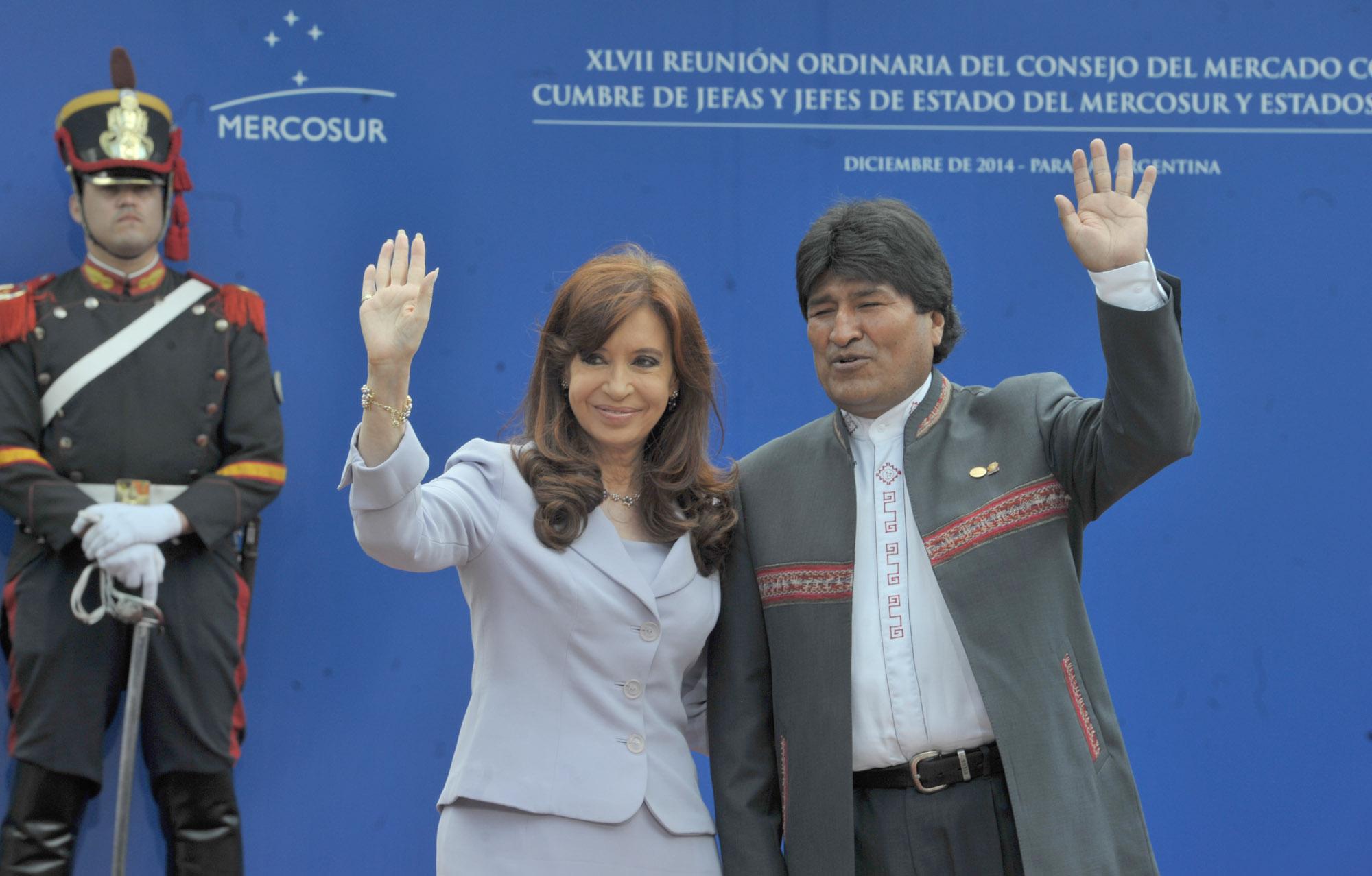 Cristina y Evo en Mercosur, Parana