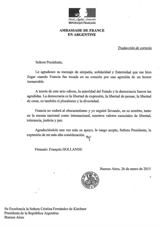 Hollande agradeció a la Presidenta su solidaridad ante el ataque contra Charlie Hebdo.