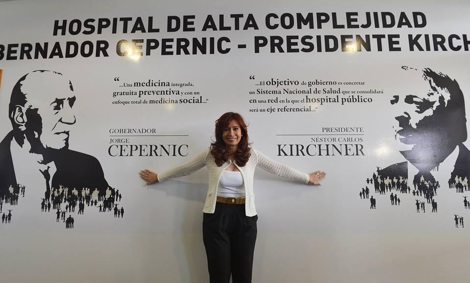 En la inauguración del hospital de alta complejidad Gobernador Cepernic-Presidente Kirchner en El Calafate.