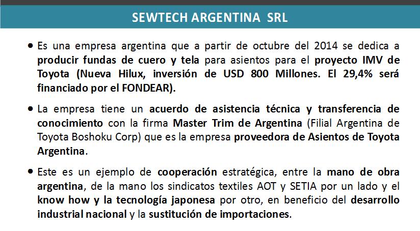 Nueva planta de fundas de asientos de SEWTECH en Luján. Inversión de $ 77 millones.