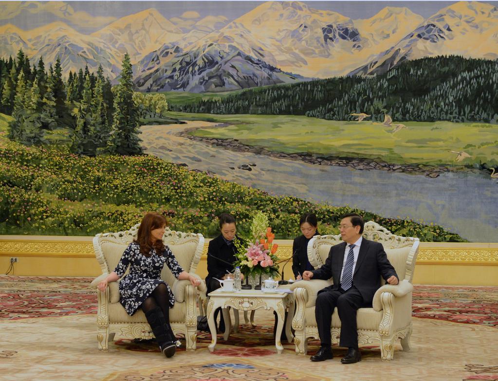 Luego, reunión con el Presidente del Comité Permanente de la Asamblea Nacional Popular, Zhang Dejiang
