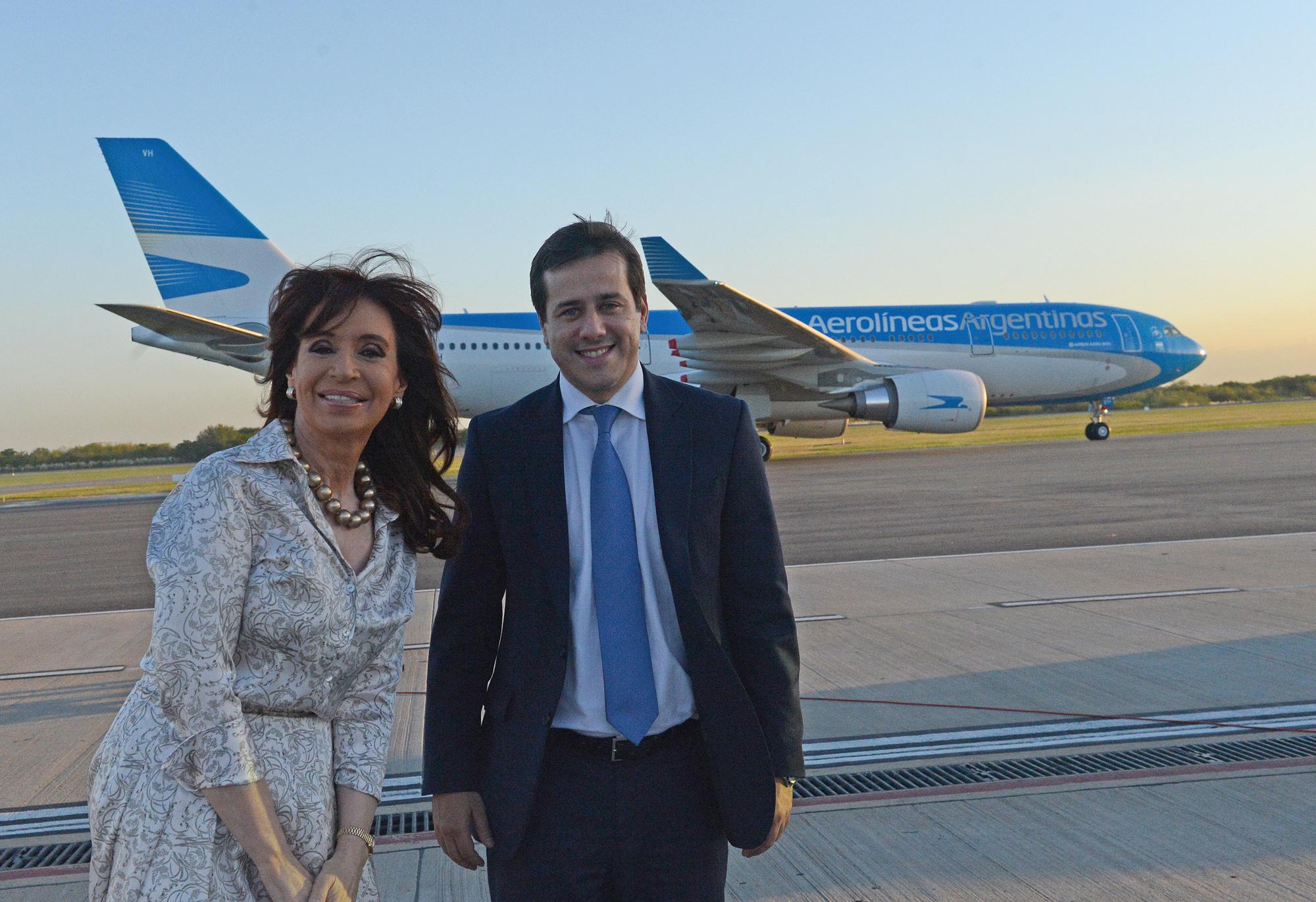 Acto de presentación del nuevo avión AirBus A330-200 de Aerolíneas Argentinas.