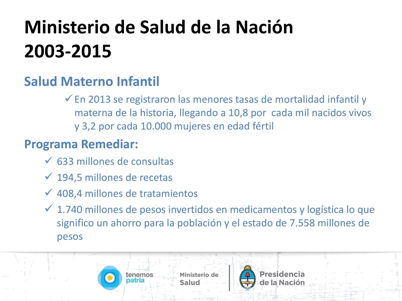 Programa Remediar. Salud Materno Infantil.