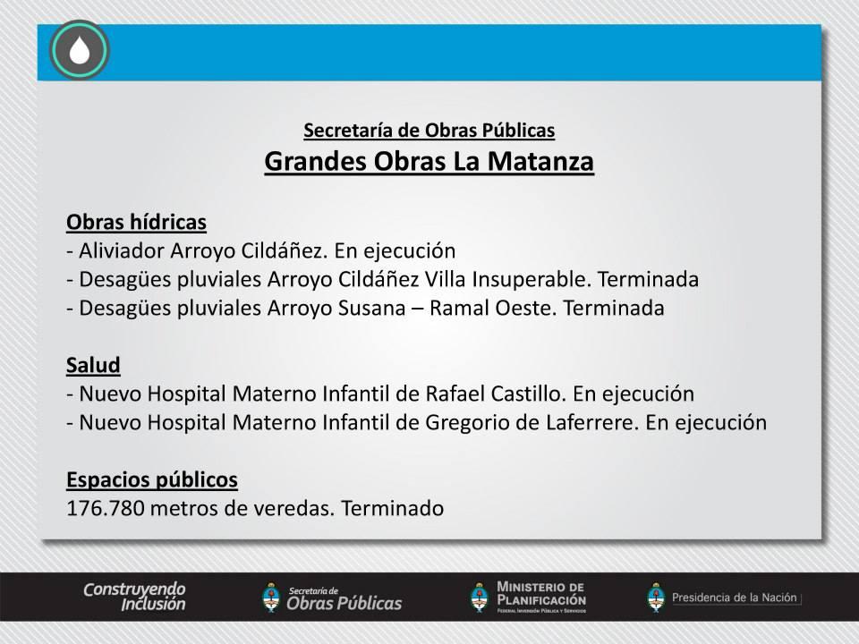 Grandes obras realizadas con inversión del Gobierno Nacional en La Matanza, Provincia de Buenos Aires.