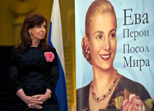 Cristina recorrió la muestra del Museo Evita en el Museo de Historia de Moscú.