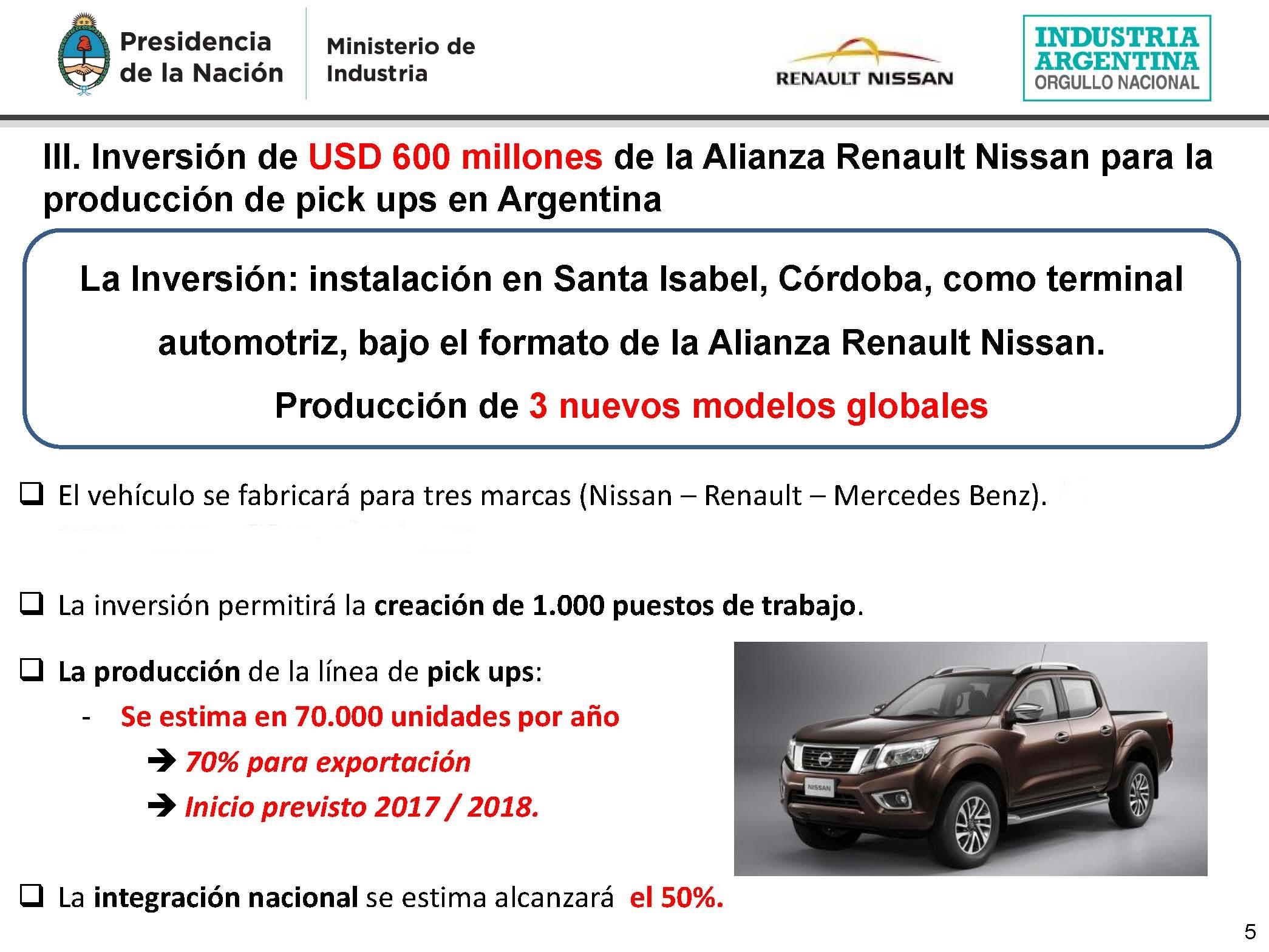 Anunciamos la inversión de USD 600 millones de la Alianza Renault Nissan para la producción de pick ups