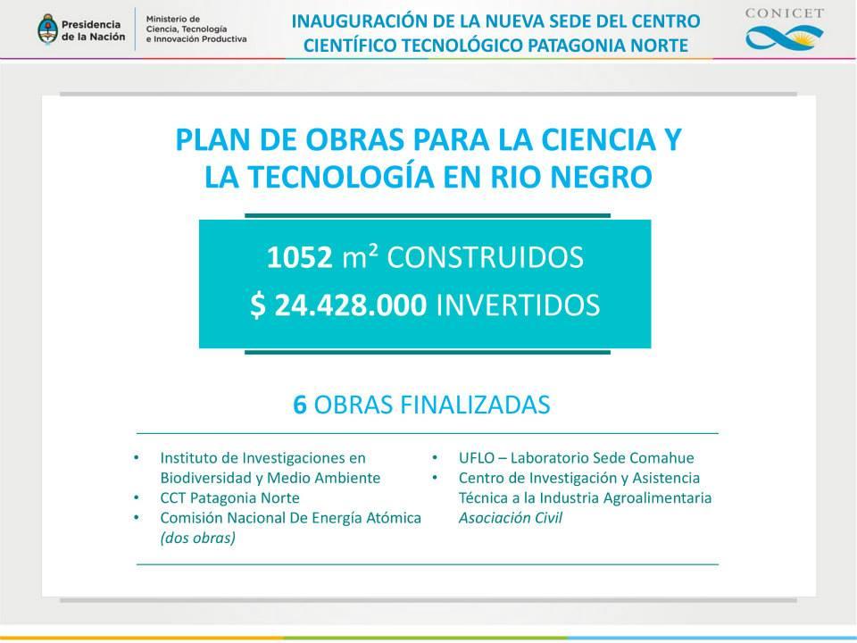 Plan de obras para la ciencia y la tecnología en Río Negro.