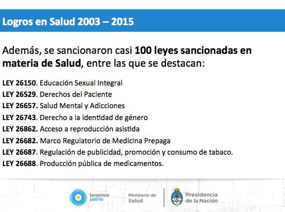 Logros en salud 2003 - 2015