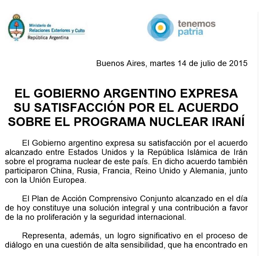 El Gobierno argentino expresa su satisfacción por el acuerdo sobre el programa nuclear iraní.