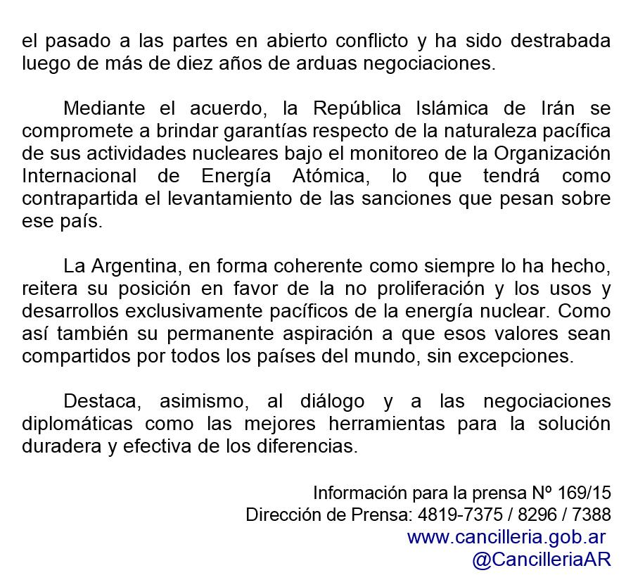 El Gobierno argentino expresa su satisfacción por el acuerdo sobre el programa nuclear iraní