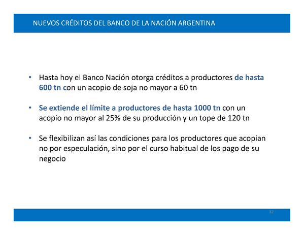 Nuevos créditos del Banco Nación para productores agropecuarios.