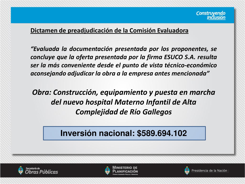 Nuevo Hospital Materno Infantil de Alta Complejidad de Río Gallegos