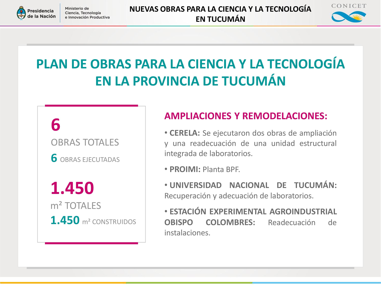 PLAN DE OBRAS PARA LA CIENCIA Y LA TECNOLOGÍA EN LA PROVINCIA DE TUCUMÁN.
