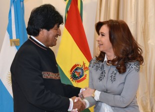 La Presidenta Cristina Fernandez de Kirchner mantuvo una audiencia con Evo Morales en Olivos.