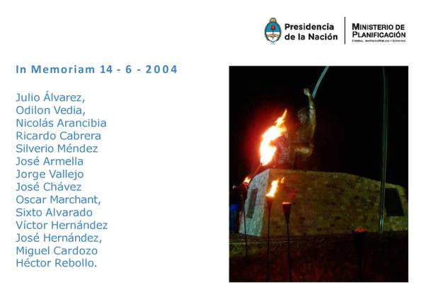 """La primer turbina de la centra de Rio Turbio se llama """"14 mineros del 14-004"""" en conmemoración a mineros fallecidos"""
