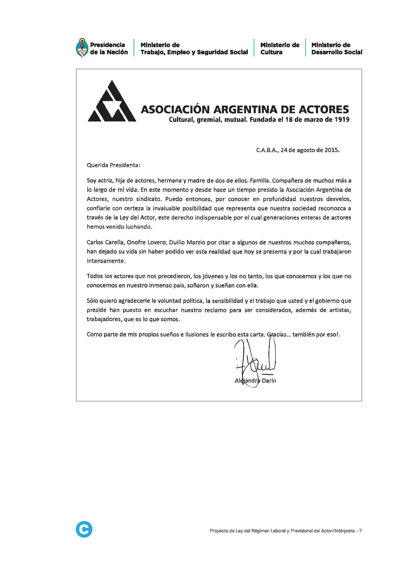 Proyecto de Ley de Actores