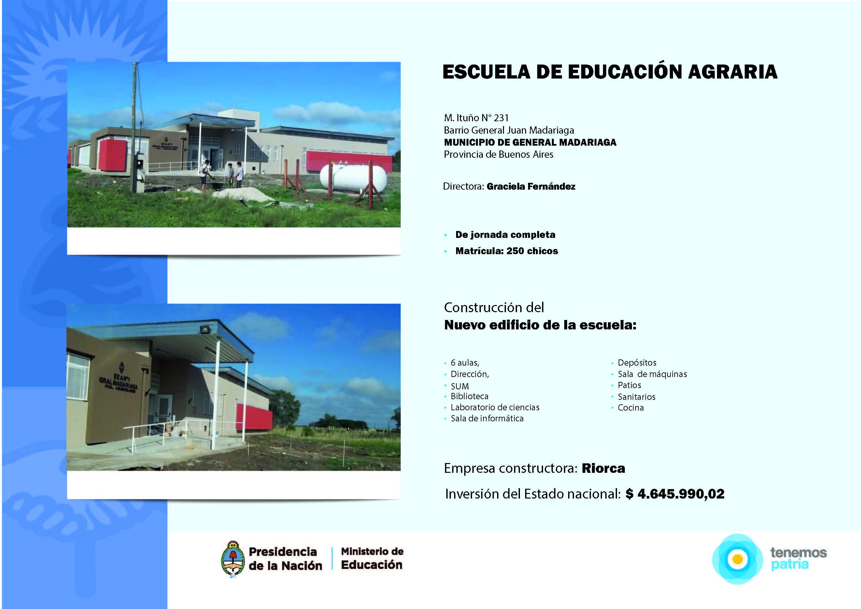 Inauguración del edificio de la Escuela Agraria N° 1 de General Madariaga