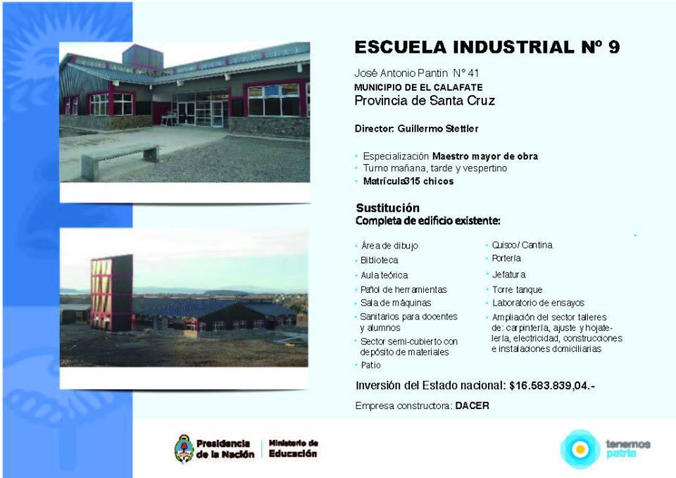 Nuevo edificio Escuela Industrial Nº 9 en El Calafate.
