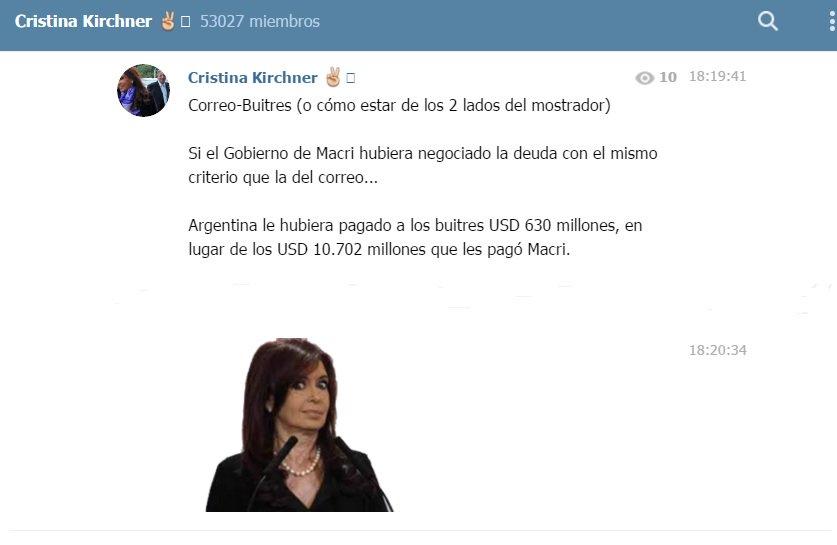 Cristina Kirchner en Telegram